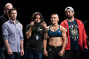 DALLAS, TX - MAY 12:  Jessica Andrade poses on the scale during the UFC 211 weigh-in at the American Airlines Center on May 12, 2017 in Dallas, Texas. (Photo by Cooper Neill/Zuffa LLC/Zuffa LLC via Getty Images)  ***Local Caption***  Jessica Andrade