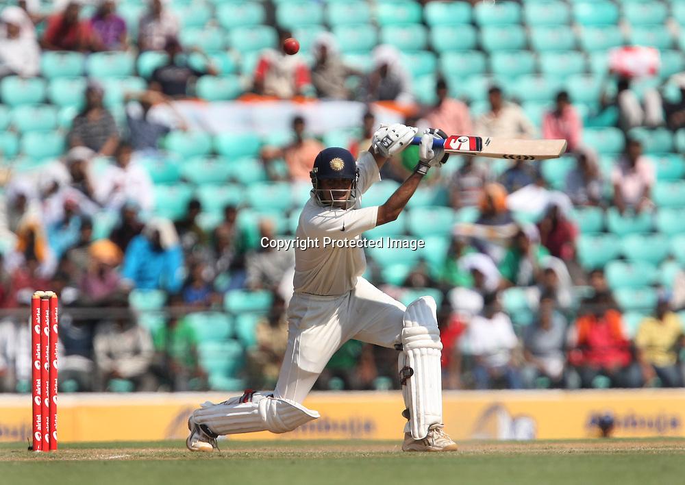 Indian batsman Rahul Dravid Takes a shot against New Zealand during the 3rd test match India vs New Zealand day-3 Played at Vidarbha Cricket Association Stadium, Jamtha, Nagpur, 22, November 2010 (5-day match)