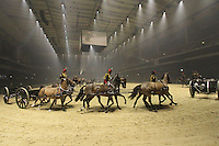 The King's Troop Royal Horse Artillery, British Military Tournament Dress Rehearsal, Earls Court, London UK, 06 December 2013, Photo by Richard Goldschmidt