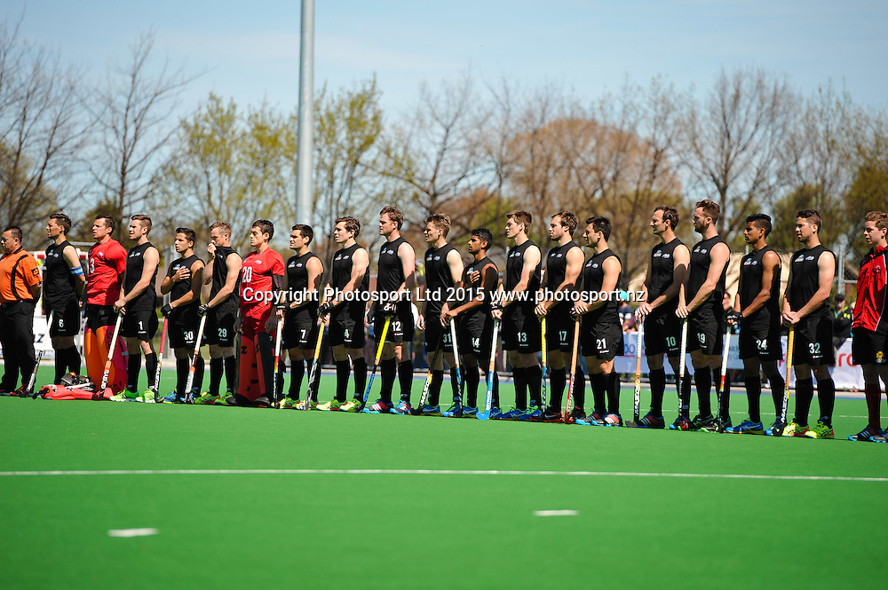 The Black Sticks line up pre match during the Mens Hockey International, 2015 South Island Tour game between the New Zealand Black Sticks V India, at Marist Park, Christchurch, on the 11th October 2015. Copyright Photo: John Davidson / www.photosport.nz