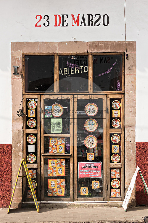 A shop decorated with crafts in Santa Clara del Cobre, Michoacan, Mexico.