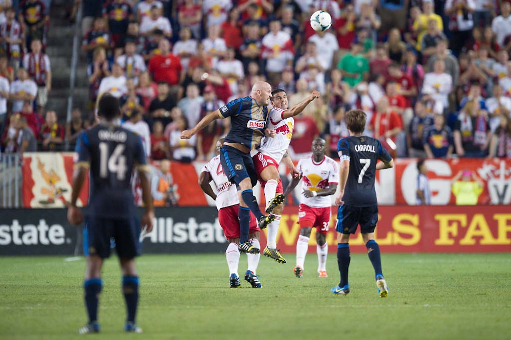 HARRISON, NJ - AUGUST 17:  Tim Cahill #17 of New York Red Bulls in a cation during the game against the Philadelphia Union at Red Bulls Arena on August 17, 2013. (Photo By: Rob Tringali)