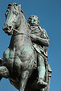 Statue of Friedrich Wilhelm I on horseback, 1696-1700, by Andreas Schluter, in the cour d'honneur of the Schloss Charlottenburg or Charlottenburg Palace, built 1695-1713 by Johann Arnold Nering in Baroque and Rococo style, Charlottenburg, Charlottenburg-Wilmersdorf, Berlin, Germany. The original palace was commissioned by Sophie Charlotte, the wife of Friedrich III, Elector of Brandenburg and later Friedrich I of Prussia. Prussian rulers occupied the palace until the late 19th century. After being badly damaged in the war, the palace was restored and is now a major tourist attraction. Picture by Manuel Cohen