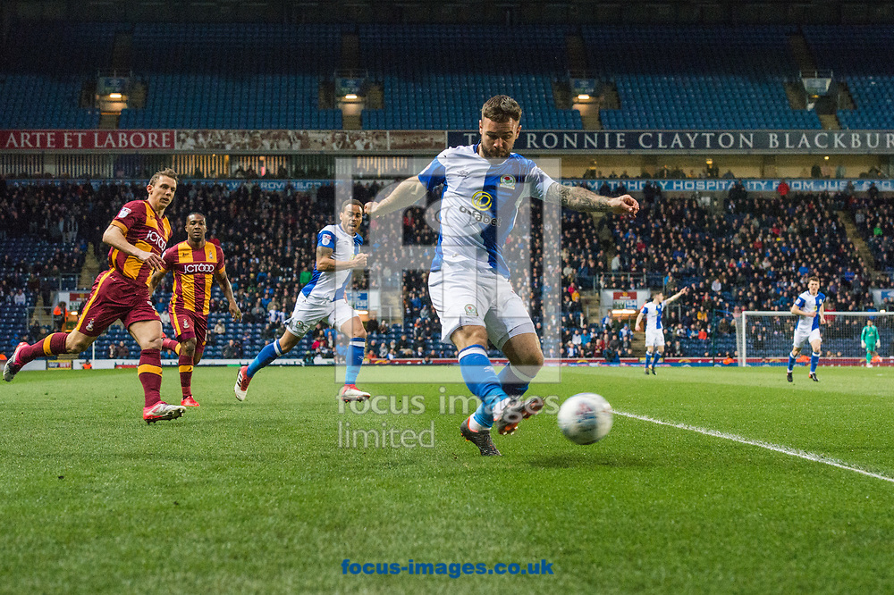 Adam Armstrong of Blackburn Rovers pushes forward during the Sky Bet League 1 match at Ewood Park, Blackburn<br /> Picture by Matt Wilkinson/Focus Images Ltd 07814 960751<br /> 29/03/2018