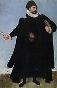 Study for male costume. Brush and coloured gouache. Lucas van Valckenborch  (1530-1597) Flemish Northern Renaissance painter.  Fashion Doublet Hose Cloak Ruff Gloves Hat Beard