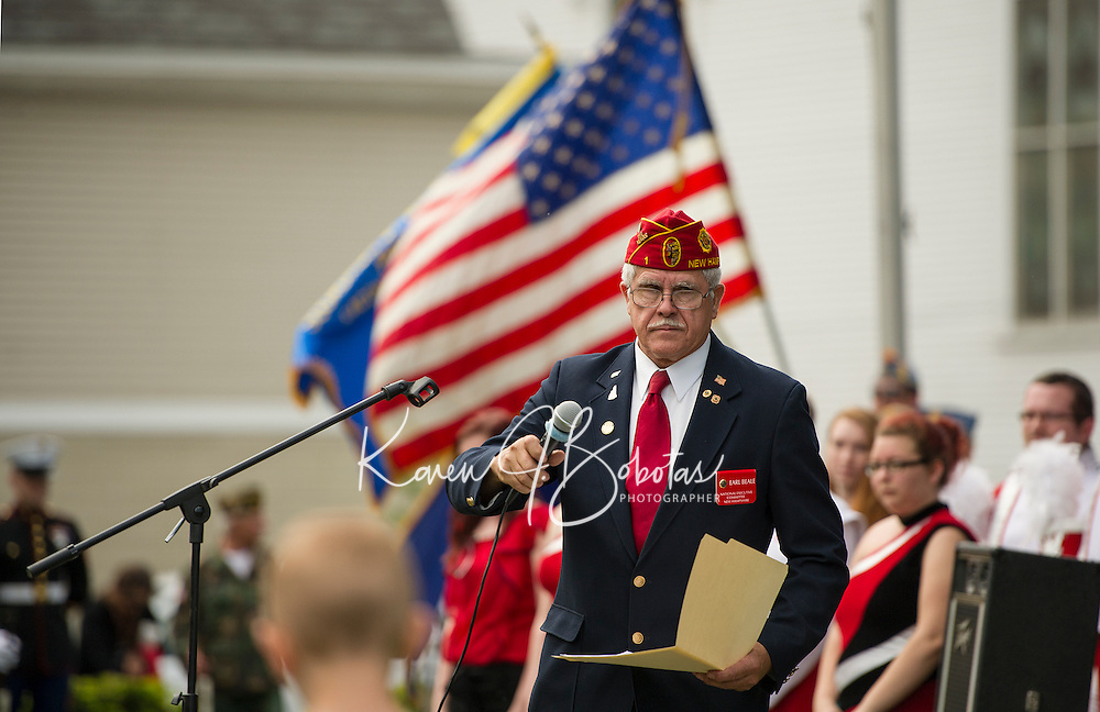 NH American Legion National Executive Commander Earl Beale speaks to the crowd gathered at Veteran's Square during the Memorial Day services Monday morning.  (Karen Bobotas/for the Laconia Daily Sun)
