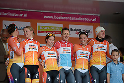 Stage winners, Boels Dolmans take to the podium at the 26.4 km Stage 2 Team Time Trial of the Boels Ladies Tour 2016 on 31st August 2016 in Gennep, Netherlands. (Photo by Sean Robinson/Velofocus).