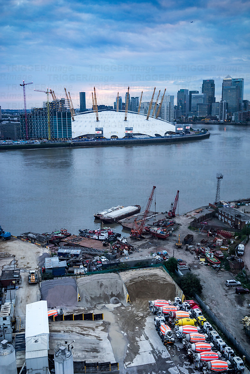 Building construction underway in London Docklands by the O2 Arena, England
