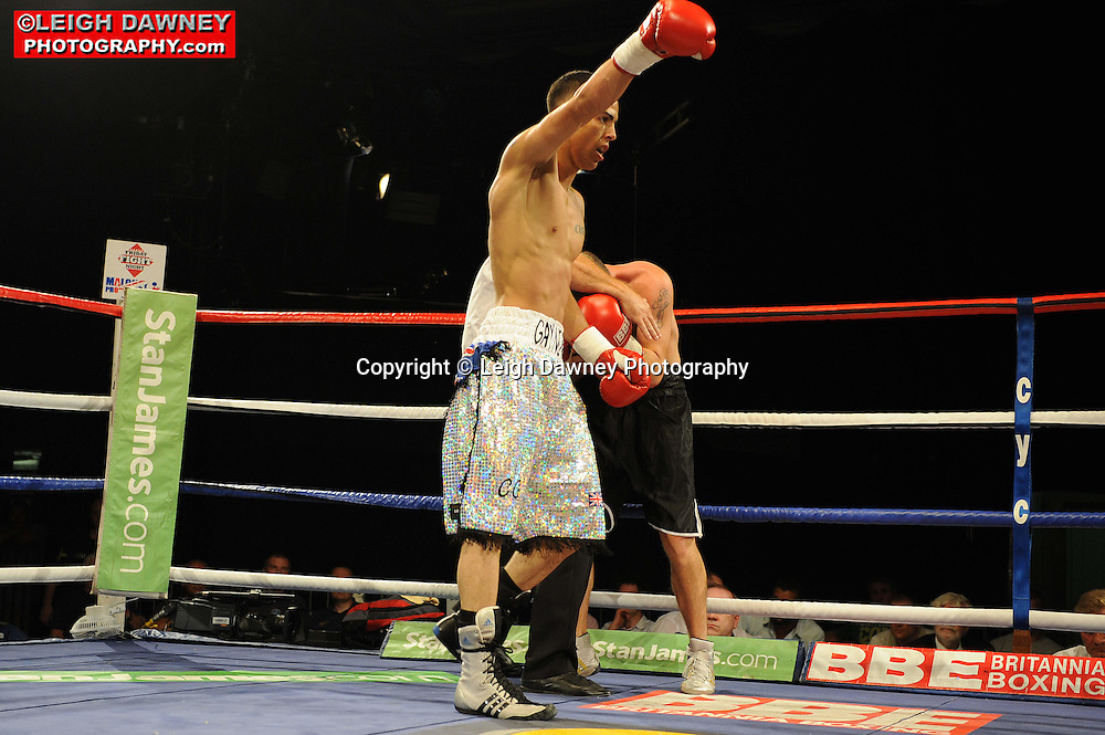 Chad Gaynor (silver shorts) defeats Johnny Greaves at the Doncaster Dome, Doncaster on 2nd July 2010. Frank Maloney Promotions. Photo credit: © Leigh Dawney