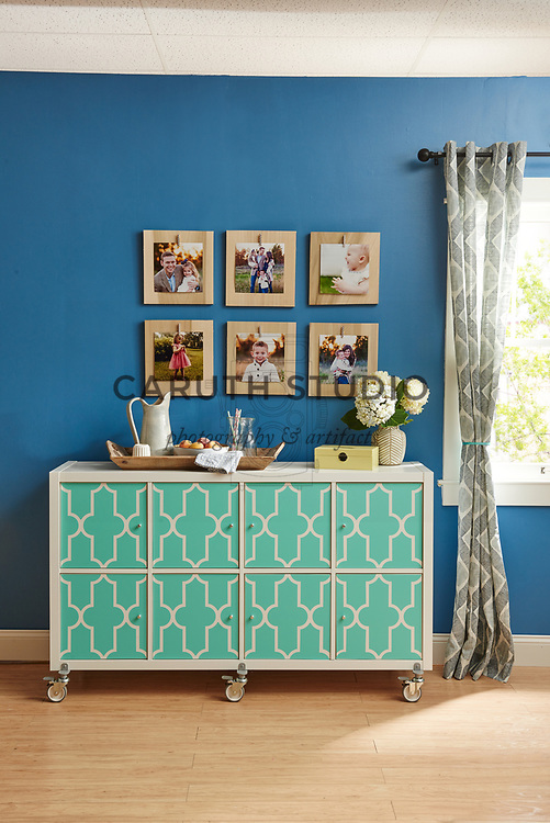 Gallery of Instagram photos over dining room sideboard