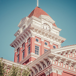 Crown Point Courthouse Retro Photo in Crown Point, Indiana. The old Lake County Courthouse was built in 1878 and is nicknamed The Grand Old Lady. The courthouse architecture is Romanesque and Georgian.