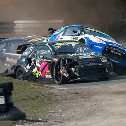 2013 FIA European Rallycross Championship, Round 1 Rallycross of Great Britain, presented by Monster Energy. 21 - Timmy Hansen (SWE) collides with 11 - Petter Solberg (SWE) 01/04/2013 (c) MATT BRISTOW
