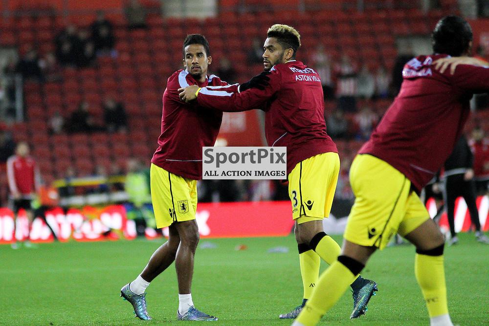Scott Sinclair and Jordan Amavi warm up before Southampton vs Aston Villa on Wednesday the 28th October 2015.