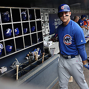 NEW YORK, NEW YORK - July 02: Anthony Rizzo #44 of the Chicago Cubs in the dugout preparing to bat during the Chicago Cubs Vs New York Mets regular season MLB game at Citi Field on July 02, 2016 in New York City. (Photo by Tim Clayton/Corbis via Getty Images)