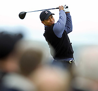 2005 Open Championship, St. Andrews.<br /> Thursday July 14th. 2005.<br /> Tiger Woods drives at par 5,  14th hole today<br /> Foto: Digitalsport<br /> Norway only