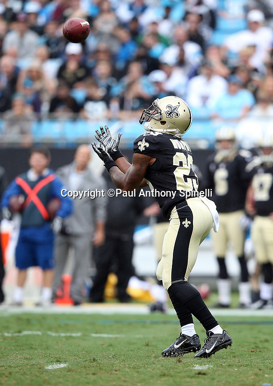 New Orleans Saints punt returner Marcus Murphy (23) catches a punt during the 2015 NFL week 3 regular season football game against the Carolina Panthers on Sunday, Sept. 27, 2015 in Charlotte, N.C. The Panthers won the game 27-22. (©Paul Anthony Spinelli)