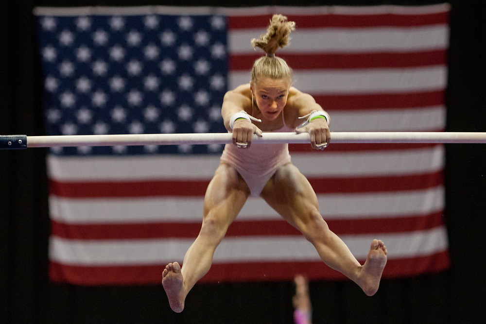 USA Gymnastics GK Classic - Schottenstein Center, Columbus, OH - July 28th, 2018. Riley McCusker competes on the bars at the Schottenstein Center in Columbus, OH; in the USA Gymnastics GK Classic in the senior division. - Photo by Wally Nell/ZUMA Press