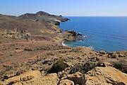 Coastal landscape Cabo de Gata natural park, Monsul, near San José, Almeria, Spain