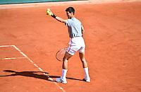 Novak DJOKOVIC imite Mansour BAHRAMI - 23.05.2015 - Tennis - Journee des enfants - Roland Garros 2015<br /> Photo : David Winter / Icon Sport