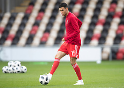 NEWPORT, WALES - Tuesday, October 16, 2018: Wales' Issac Christie-Davies warms up ahead of the UEFA Under-21 Championship Italy 2019 Qualifying Group B match between Wales and Switzerland at Rodney Parade. (Pic by Laura Malkin/Propaganda)