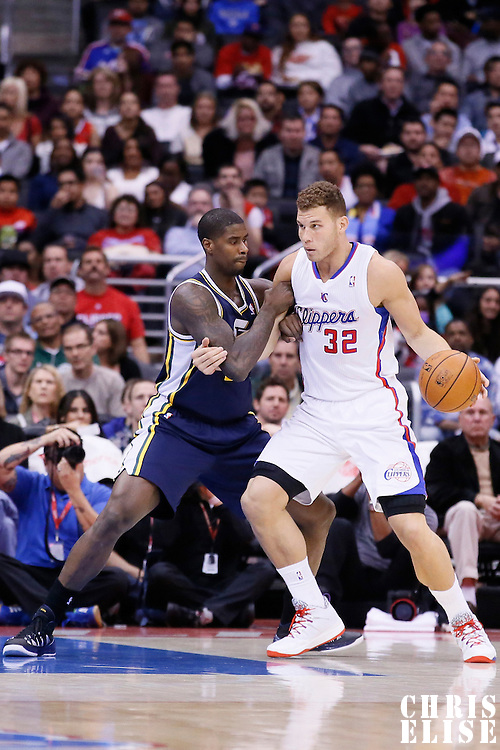 01 February 2014: Los Angeles Clippers power forward Blake Griffin (32) posts up Utah Jazz power forward Marvin Williams (2) during the Los Angeles Clippers 102-87 victory over the Utah Jazz at the Staples Center, Los Angeles, California, USA.