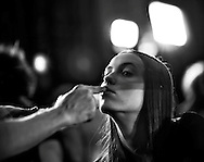 A model prepares to display Romanian designer Ingrid Vlasov as part of the Spring/Summer 2012 women's ready-to-wear fashion collection show during the Paris Fashion week, in Paris, France, 04 October 2011. The fashion week runs from 27 September to 05 October.