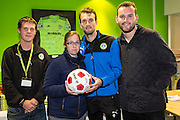 Kick off Stroud receive the match ball as sponsors from Forest Green Rovers Christian Doidge(9) during the Vanarama National League match between Forest Green Rovers and Guiseley  at the New Lawn, Forest Green, United Kingdom on 22 October 2016. Photo by Shane Healey.