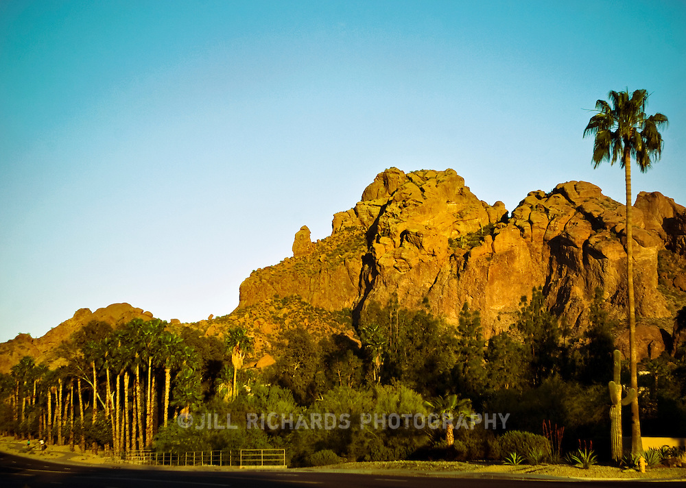 Camelback Mountain, named for its shape, is a prominent landmark in Phoenix, Arizona. It is a destination for hikers and rock climbing.