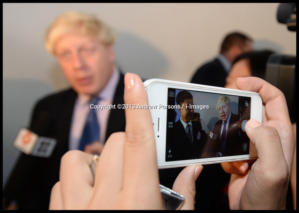 The London Mayor Boris Johnson visit's London Universities International Partnership in Beijing, China, on Day 1 of his 6 day visit to China, Sunday, 13th October 2013. Picture by Andrew Parsons / i-Images