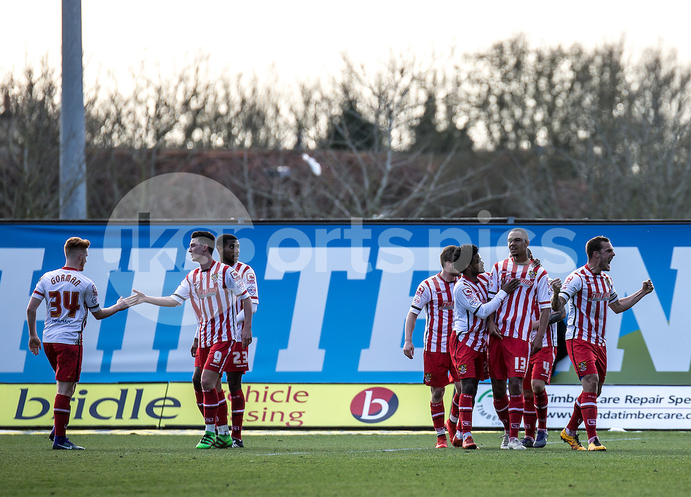 Byron Harrison (13) of Stevenage celebrates with teammates after scoring equaliser during the Sky Bet League 2 match between Oxford United and Stevenage at the Kassam Stadium, Oxford, England on the 25th March 2016. Photo by Liam McAvoy.