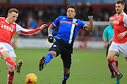 Nathaniel Mendez-Laing challenges for the ball during the EFL Sky Bet League 1 match between Fleetwood Town and Rochdale at the Highbury Stadium, Fleetwood, England on 11 February 2017. Photo by Daniel Youngs.