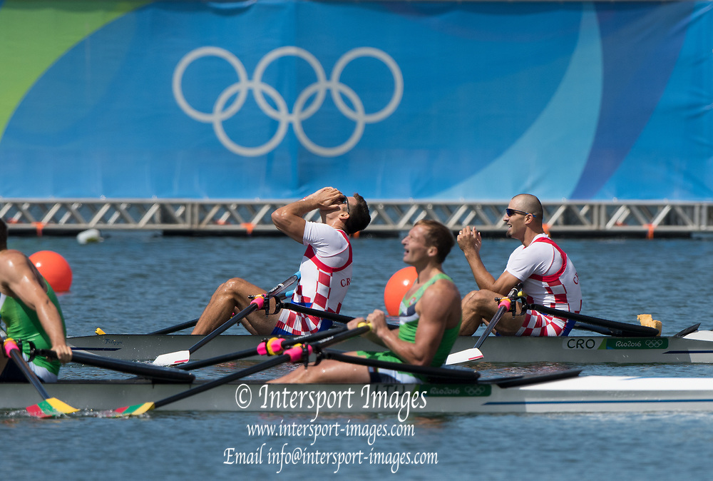 Rio de Janeiro. BRAZIL.  Gold  Medalist CRO M2X. . Bow. Martin SINKOVIC and Valent<br /> SINKOVIC,  2016 Olympic Rowing Regatta. Lagoa Stadium,<br /> Copacabana,  &ldquo;Olympic Summer Games&rdquo;<br /> Rodrigo de Freitas Lagoon, Lagoa. Local Time 11:35:55  Thursday  11/08/2016 <br /> [Mandatory Credit; Peter SPURRIER/Intersport Images]