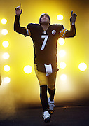 Pittsburgh Steelers quarterback Ben Roethlisberger (7) points and looks skyward as he comes onto the field for the NFL week 16 regular season football game against the Kansas City Chiefs on Sunday, Dec. 21, 2014 in Pittsburgh. The Steelers won the game 20-12 and clinched an AFC playoff spot. ©Paul Anthony Spinelli