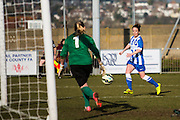 Sophie Perry advances towards the goal during the FA Women's Sussex Challenge Cup semi-final match between Brighton Ladies and Hassocks Ladies FC at Culver Road, Lancing, United Kingdom on 15 February 2015. Photo by Geoff Penn.