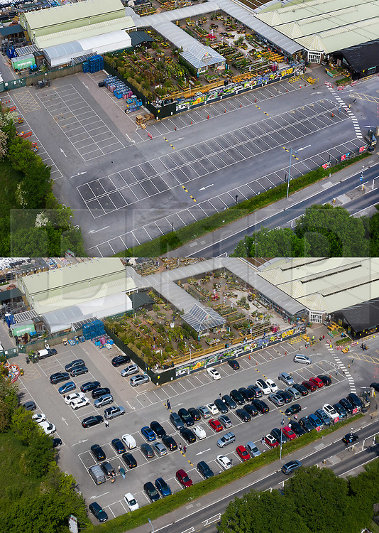© Licensed to London News Pictures. 16/05/2020. Chessington, UK. This combined image shows an empty car park at Chessington Garden Centre in Surrey on 10/05/2020 (TOP) contrasted with a busy day today after fully opening during the week. Some online orders were available for collection during the latter part of lockdown.The government has announced a series of measures to slowly ease lockdown, which was introduced to fight the spread of the COVID-19 strain of the coronavirus. Photo credit: Peter Macdiarmid/LNP