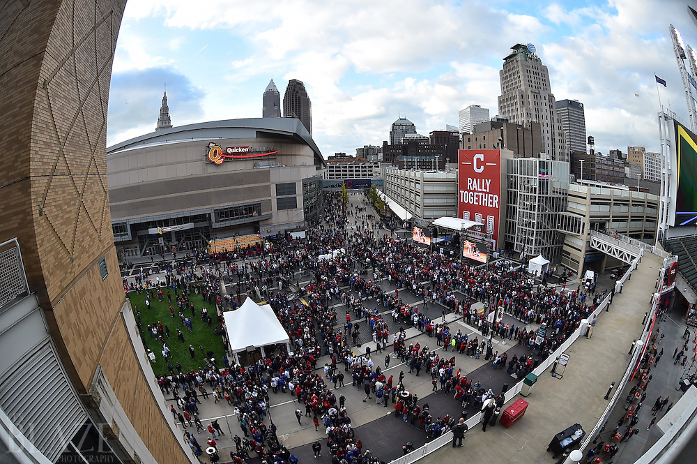 Oct 25, 2016; Cleveland, OH, USA; A general view of baseball and basketball fans in Gateway Plaza before game one of the 2016 World Series between the Chicago Cubs and the Cleveland Indians at Progressive Field. Mandatory Credit: Ken Blaze-USA TODAY Sports