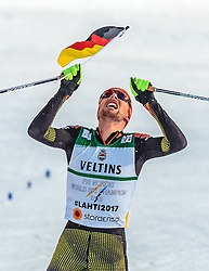 24.02.2017, Lahti, FIN, FIS Weltmeisterschaften Ski Nordisch, Lahti 2017, Nordische Kombination, Langlauf, im Bild Goldmedaillen Gewinner Johannes Rydzek (GER) jubelt // Gold Medalist Johannes Rydzek of Germany celebrate during the Nordic Combined Competition of FIS Nordic Ski World Championships 2017. Lahti, Finland on 2017/02/24. EXPA Pictures © 2017, PhotoCredit: EXPA/ JFK