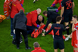 CARDIFF, WALES - Sunday, October 13, 2019: Wales' Ethan Ampadu receives treatment for an injury during the UEFA Euro 2020 Qualifying Group E match between Wales and Croatia at the Cardiff City Stadium. (Pic by Paul Greenwood/Propaganda)