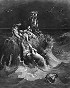 The Deluge'. The last frantic attempts to cling to life.  'And all flesh died that moved upon the earth....'   Genesis 7.22.  Illustration by Gustave Dore French painter and illustrator for 'The Bible' (London 1866). Wood engraving.