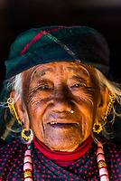 A 96 year old Gurkha woman wearing a turquoise necklace, Chitepani village, near Pokhara, Nepal.