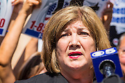 25 JUNE 2012 - PHOENIX, AZ:   Maricopa County Supervisor MARY ROSE WILCOX, a long time civil rights advocate in Arizona, speaks out in response to the US Supreme Court's decision overturning most of SB1070 Monday. Wilcox was an opponent of the law. The case, US v. Arizona, determined whether or not Arizona's tough anti-immigration law, popularly known as SB1070 was constitutional. The court struck down most of the law but left one section standing, the section authorizing local police agencies to check the immigration status of people they come into contact with.      PHOTO BY JACK KURTZ