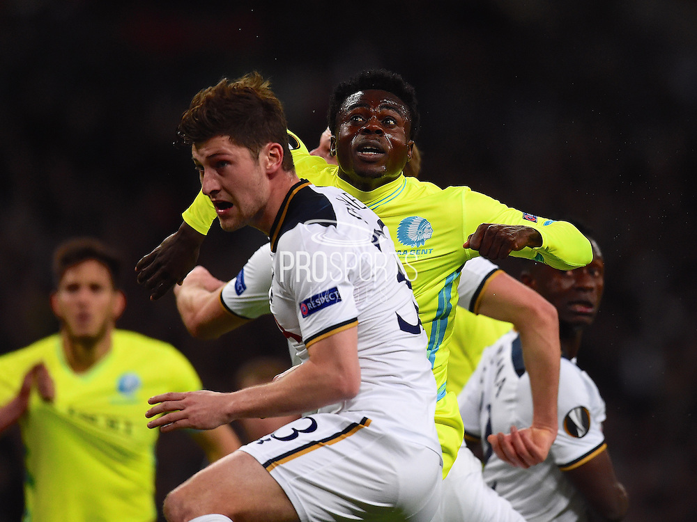 Gent player Moses Simon scores their first goal of the first half during the Europa League match between Tottenham Hotspur and KAA Gent at Wembley Stadium, London, England on 23 February 2017. Photo by Ian  Muir.