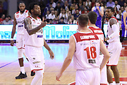 Esultanza Grissin Bon, GRISSIN BON REGGIO EMILIA vs BANCO DI SARDEGNA SASSARI, Campionato Lega Basket Serie A 2018/2019, PalaBigi 7 ottobre 2018 - FOTO: Bertani/Ciamillo