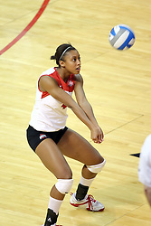 11 September 2007:  Kaila Calhoun passes the ball to the front row. Ohio State Buckeyes bested the Illinois State Redbirds 3 games to 1 at Redbird Arena on the campus of Illinois State University in Normal Illinois.