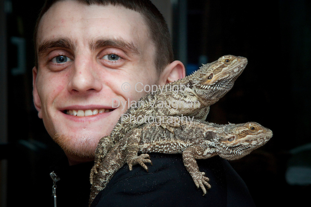31/1/2009.Mickey Coady pictured with his Bearded Dragons at his home in Kilkenny..Picture Dylan Vaughan