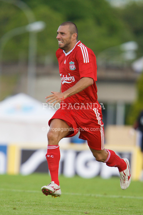 FRIBOURG, SWITZERLAND - Saturday, July 19, 2008: Liverpool's Andrea Dossena during a pre-season friendly match against Wisla Krakow at Stade St-Leonard. (Photo by David Rawcliffe/Propaganda)