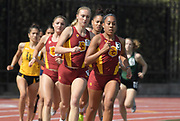 Mar 18, 2017; Los Angeles, CA, USA; Amber Gore of Southern California leads women's 1,500m heat during the Trojan Invitational at Cromwell Field.