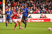 Walsall's Tom Bradshaw is body checked by Bury's Nathan Cameron during the Sky Bet League 1 match between Walsall and Bury at the Banks's Stadium, Walsall, England on 5 September 2015. Photo by Shane Healey.
