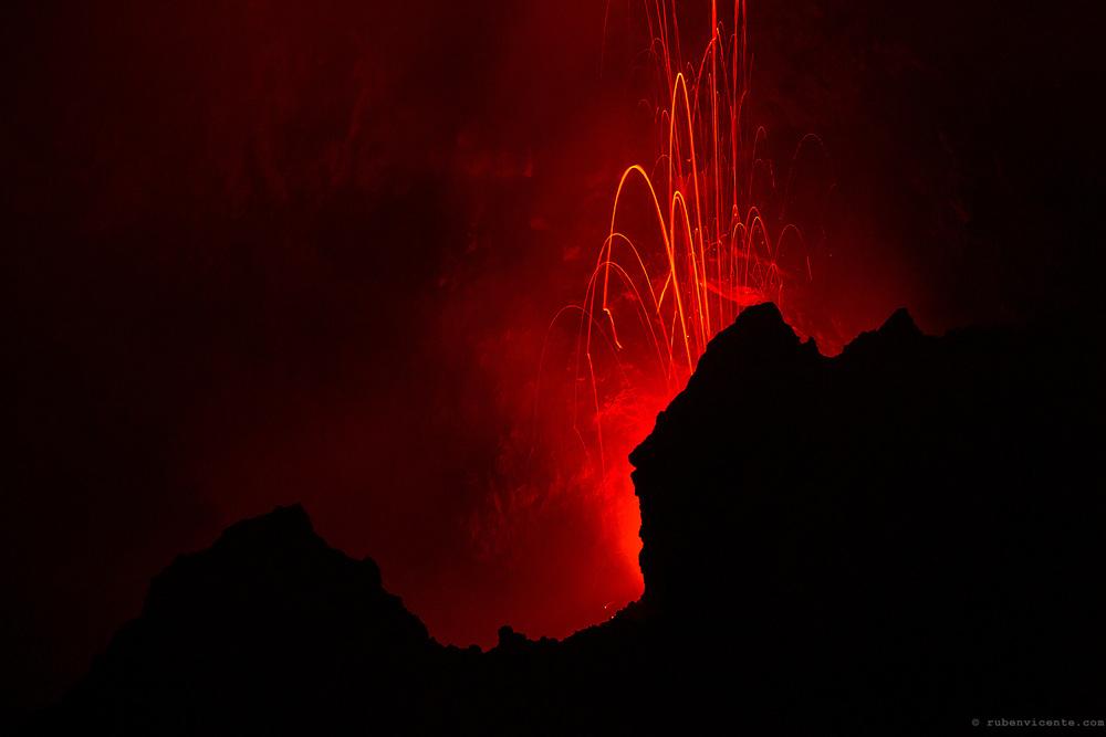 Stromboli volcanic eruption. Sicily, Italy