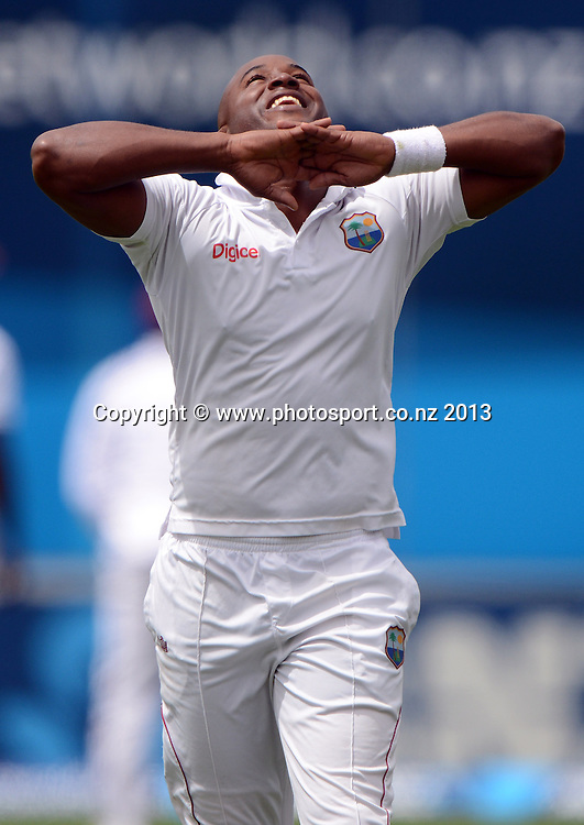 Tino Best shows his frustration on Day 1 of the 2nd cricket test match of the ANZ Test Series. New Zealand Black Caps v West Indies at The Basin Reserve in Wellington. Wednesday 11 December 2013. Mandatory Photo Credit: Andrew Cornaga www.Photosport.co.nz